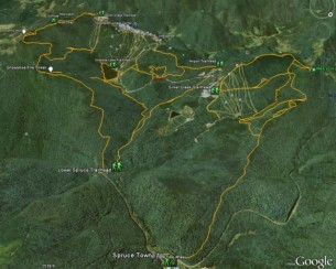 Screenshot of Google Earth displaying KML file of Snowshoe Mountain's Hiking Trails.