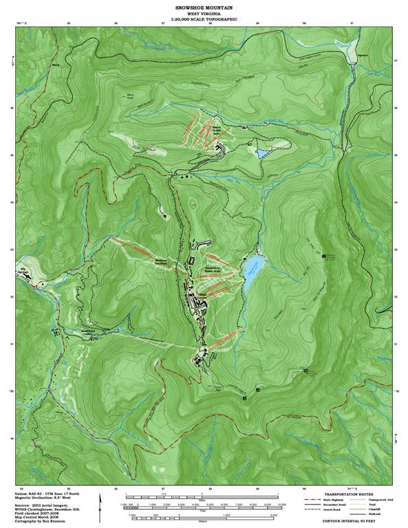 Snowshoe, WV Topographic Map (2008) | Trail Graphics